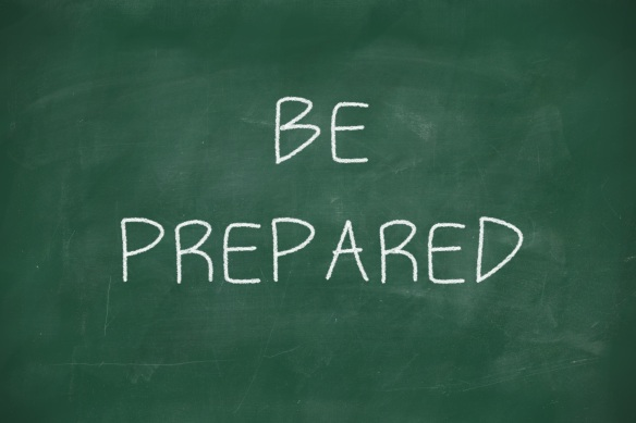 Be prepared handwritten on blackboard