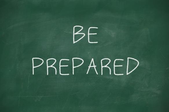 Be prepared handwritten on blackboard