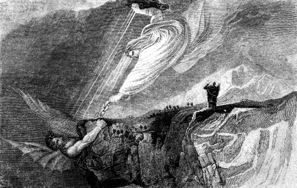 An engraved vintage Bible illustration drawing of Satan Bound in the Bottomless Pit, from an antique book dated 1836 that is no longer in copyright