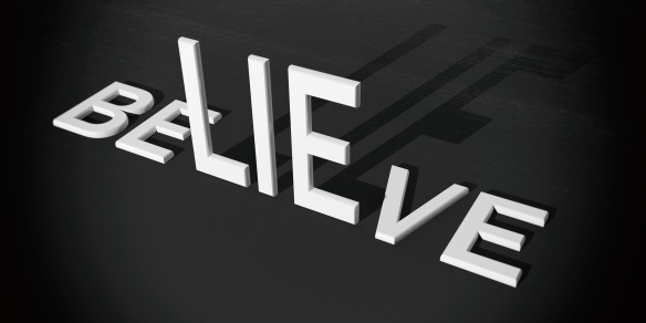 3d rendering words lie and believe
